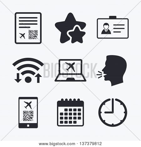QR scan code in smartphone icon. Boarding pass flight sign. Identity ID card badge symbol. Wifi internet, favorite stars, calendar and clock. Talking head. Vector