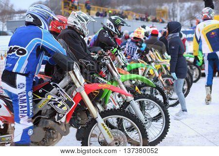 MOSCOW - FEB 14, 2015: Participants Winter Cup motocross in Krylatskoye