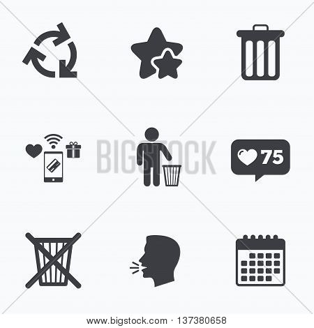 Recycle bin icons. Reuse or reduce symbols. Human throw in trash can. Recycling signs. Flat talking head, calendar icons. Stars, like counter icons. Vector