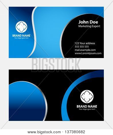 Business card black and blue template vector design