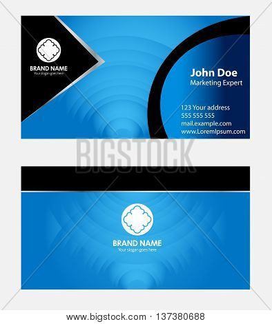 Blue business card template template vector design