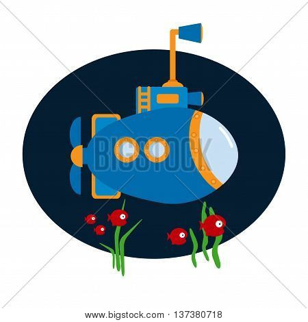 Vector Submarine on blue background. Design element for poster, t-shirt, cover.