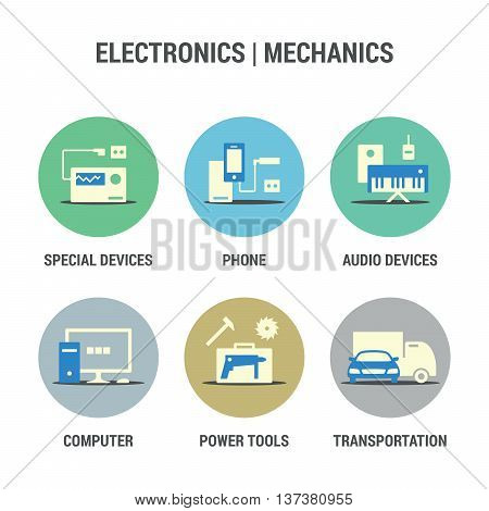 Icons set of electronics and mechanics area.