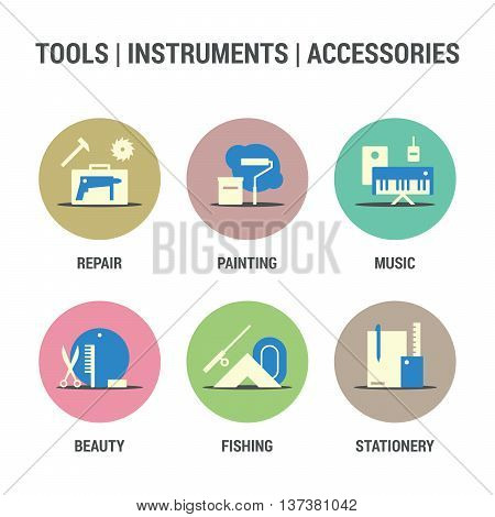 Icons set of tools, instruments, accessories area.