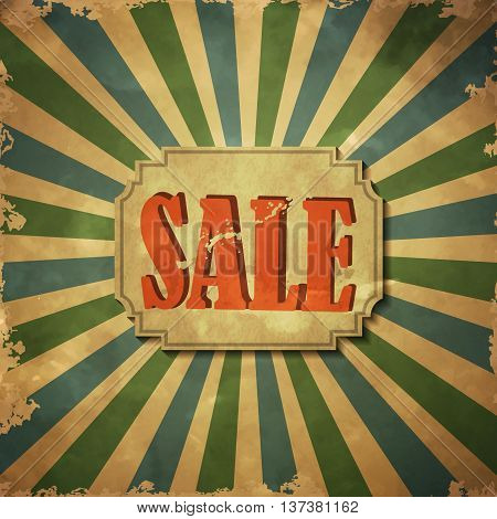 eco friendly paper old Sale tag on grange poster background