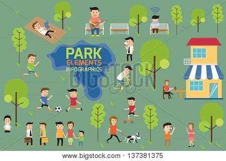 Park infographics elements people having activities in the park vector illustration.