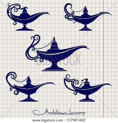 Ball pen imitation drawing aladdin lamp vector set on notebook page