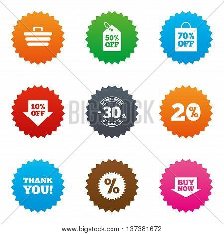 Sale discounts icon. Shopping cart, coupon and buy now signs. 20, 30 and 50 percent off. Special offer symbols. Stars label button with flat icons. Vector