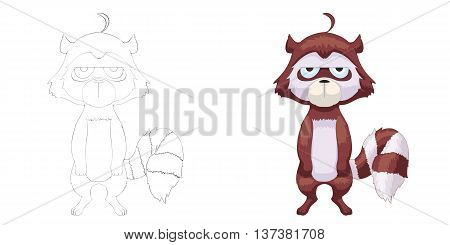 Raccoon. Coloring Book, Outline Sketch, Animal Mascot, Game Character Design isolated on White Background