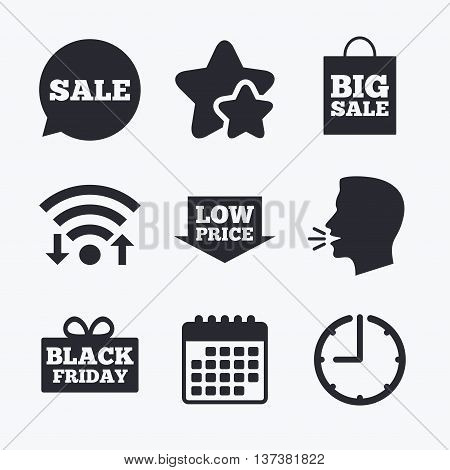 Sale speech bubble icon. Black friday gift box symbol. Big sale shopping bag. Low price arrow sign. Wifi internet, favorite stars, calendar and clock. Talking head. Vector