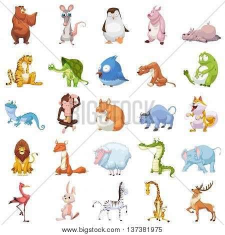25 Animals Set. Video Game Assets, Objects; Story Card Illustration Pieces isolated on White Background