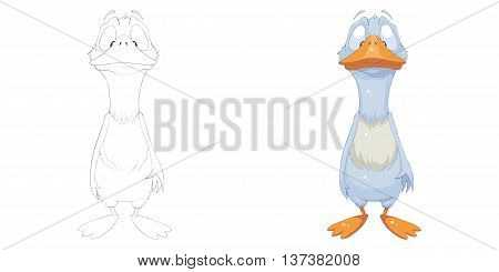 Silly Duck. Coloring Book, Outline Sketch, Animal Mascot, Game Character Design isolated on White Background