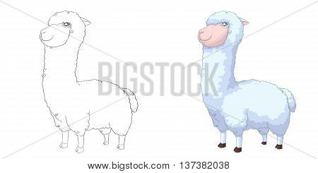 Alpaca. Coloring Book, Outline Sketch, Animal Mascot, Game Character Design isolated on White Background