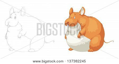 Fat Marmot Squirrel. Coloring Book, Outline Sketch, Animal Mascot, Game Character Design isolated on White Background