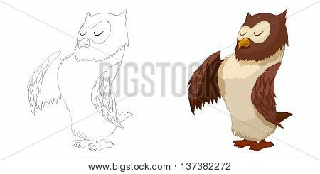 Proud Owl. Coloring Book, Outline Sketch, Animal Mascot, Game Character Design isolated on White Background