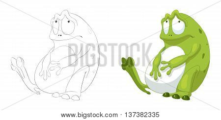 Big Belly Frog. Coloring Book, Outline Sketch, Animal Mascot, Game Character Design isolated on White Background