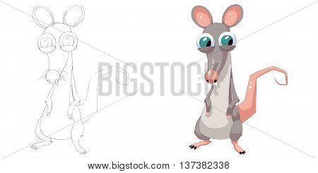 Clever Mouse. Coloring Book, Outline Sketch, Animal Mascot, Game Character Design isolated on White Background