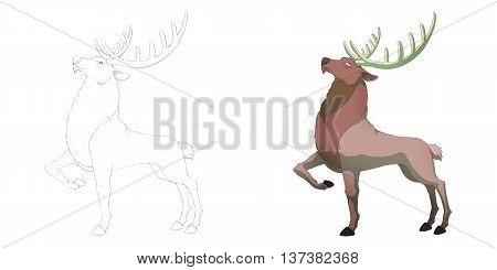 Pride Noble Reindeer. Coloring Book, Outline Sketch, Animal Mascot, Game Character Design isolated on White Background