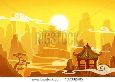 Creative Illustration and Innovative Art: Ancient China. Realistic Fantastic Cartoon Style Artwork Scene, Wallpaper, Story Background, Card Design