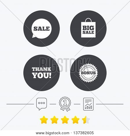 Sale speech bubble icon. Thank you symbol. Bonus star circle sign. Big sale shopping bag. Chat, award medal and report linear icons. Star vote ranking. Vector
