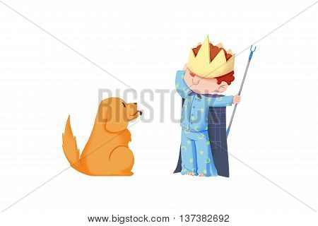 Creative Illustration and Innovative Art: Boy Pretends King in front of His Dog isolated on White Background. Realistic Fantastic Cartoon Style Artwork Scene, Wallpaper, Story Background, Card Design