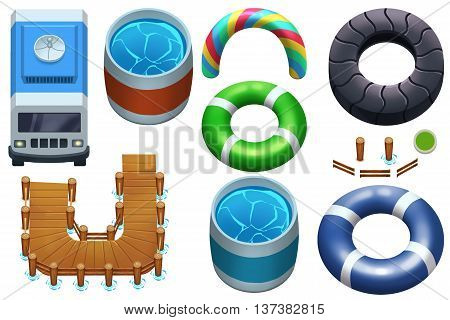Creative Illustration and Innovative Art: Objects Set: Van, Bucket, Wooden Pier, Life Buoy. Realistic Fantastic Cartoon Style Artwork Scene, Wallpaper, Story Background, Card Design