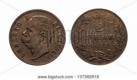 Two cent of Lira copper Coin 1897 King Umberto I , Kingdom of Italy isolated on white, Umberto I profile, Mint of rome