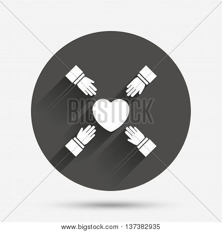 Hands reach for heart sign icon. Save life symbol. Circle flat button with shadow. Vector