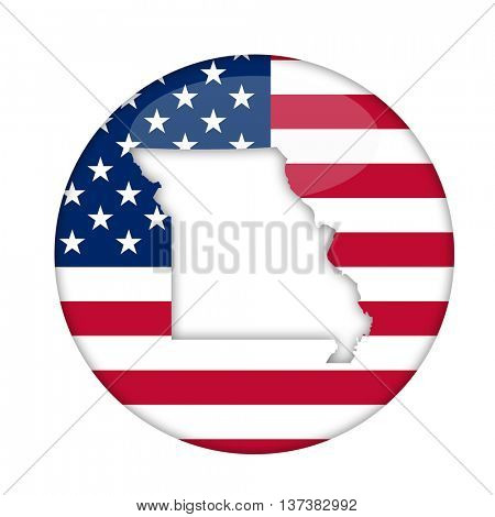 Missouri state of America badge isolated on a white background.