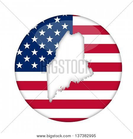 Maine state of America badge isolated on a white background.