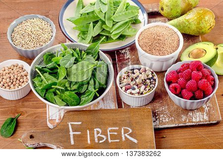Fiber Rich Foods On A Wooden Board.