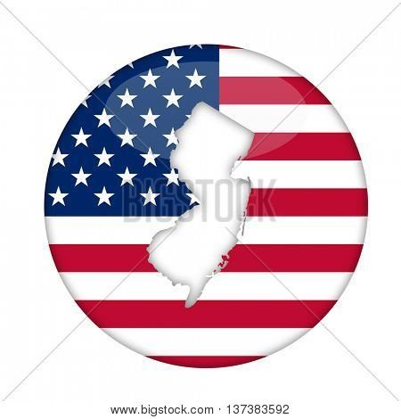 New Jersey state of America badge isolated on a white background.