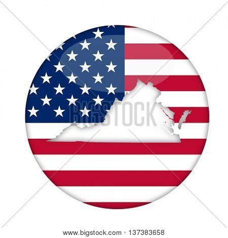 Virginia state of America badge isolated on a white background.