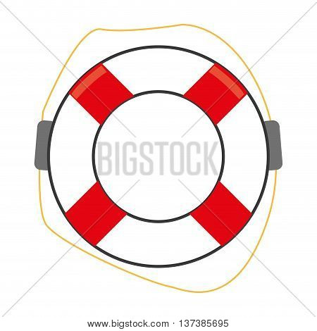 simple flat design life preserver icon vector illustration