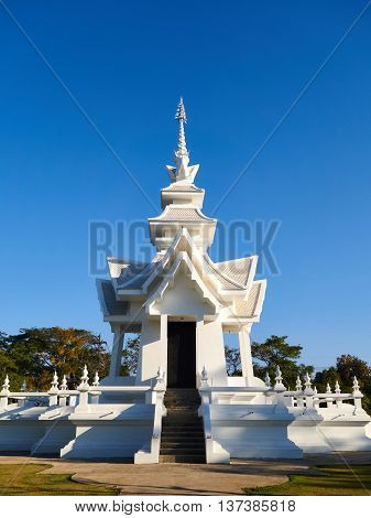 Wat Rong Khun a temple architecture in Chiang Mai city Thailand in the morning.