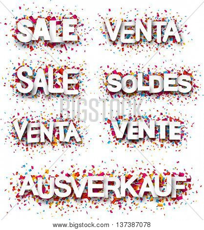 Sale paper white banners, Spanish, French, German. Vector illustration.