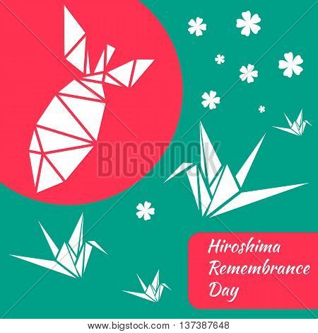 Hiroshima Remembrance day green banner. Vector illustration.