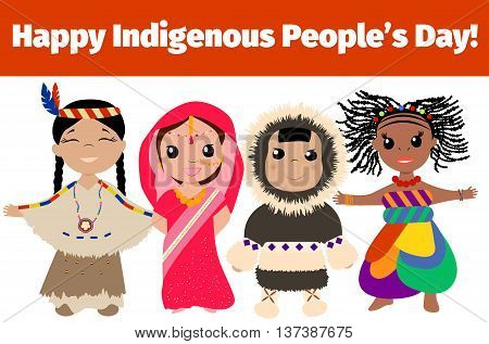 Indigenous day banner. Multinational characters. Vector illustration.