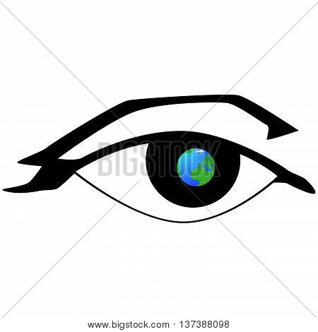 The globe on the background of the human eye. The illustration on a white background.