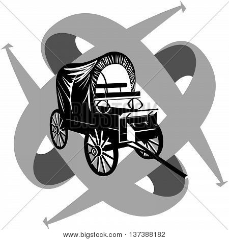 Vintage wagon to travel on the background of arrows showing the direction. Illustration on white background.
