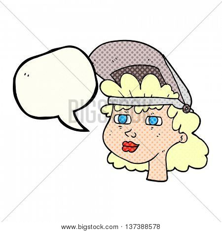 freehand drawn freehand drawn freehand drawn comic book speech bubble cartoon woman with welding mask