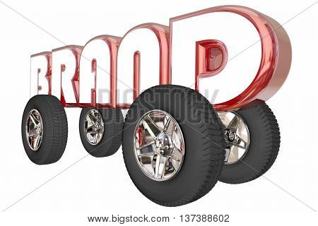 Brand Leader Auto Car Model Word Wheels 3d Illustration