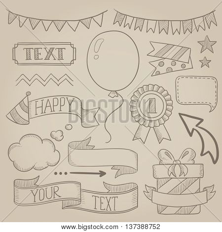 Set of vintage labels, ribbons, frames, banners and elements for party or birthday invitation. Hand drawn vector sketch illustration. Old paper vintage background.