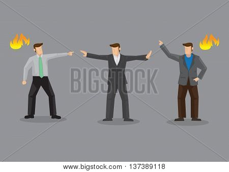 Angry adult men in a fiery conflict and a pacemaker between them trying mediate and stop the argument. Cartoon vector illustration on ugly confrontation concept isolated on grey background.