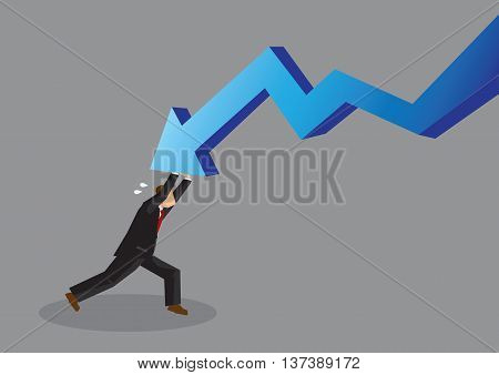 Cartoon businessman pushing back hard and resisting a bold descending arrow. Vector illustration on turning a business around concept isolated on grey background.