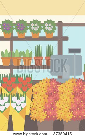 Background of flower shop. Counter with cash box in flower shop vector flat design illustration. Vertical layout.
