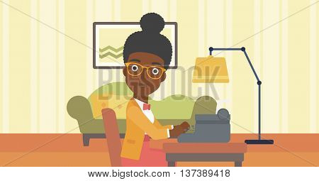 An african-american reporter writing an article on typewriter on the background of living room vector flat design illustration. Horizontal layout.