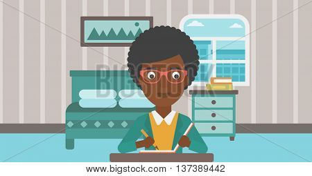 An african-american reporter sitting at the table and writing an article in writing-pad on the background of bedroom vector flat design illustration. Horizontal layout.