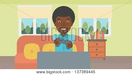 An enthusiastic african-american man sitting on a sofa with gamepad in hands in living room vector flat design illustration. Horizontal layout.