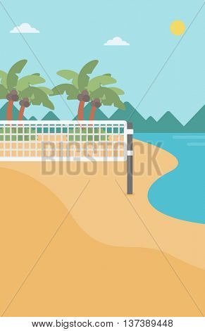 Background of beach volleyball court at the seashore. Volleyball net on the beach. Sport concept. Vertical layout.